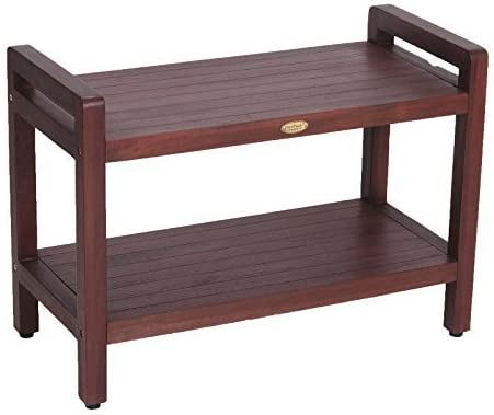 "29"" Teak Shower Bench with Shelf and LIftAide Arms- Adjustable Foot Pads- Shower, Bath, Bathroom 41Ah2BUUi0VL"