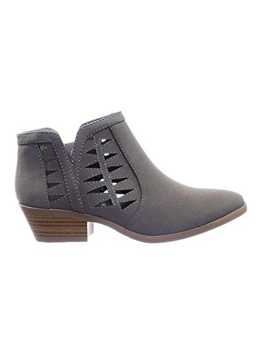 (SODA Women's Perforated Cut Out Stacked Block Heel Ankle Booties Lt Grey 8 B(M) US)