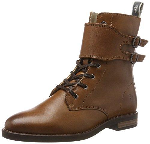 Marc OPolo Damen Lace Flatheel Bootie 70814226301124 Combat Boots Braun (Whiskey)