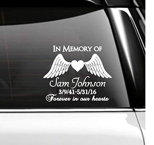 (In Memory of Car Decal Memorial- Angel Wings)