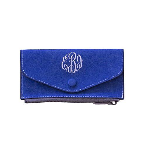 (Monogrammed Faux Suede Wallet (Blue))