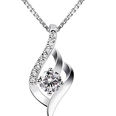 FULLIN Fashion Silver Hoop Pendant Cubic Zirconia Diamond Necklace For Women - Cubic Zirconia Pendant Jewelry