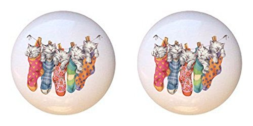 Clothesline Farm (SET OF 2 KNOBS - Hanging on Clothesline Kittens - Cats - DECORATIVE Glossy CERAMIC Cupboard Cabinet PULLS Dresser Drawer KNOBS)