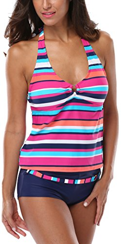 Charmleaks Womens swimsuits for women tankini ladies swimwear tankini padded tankini Size 14