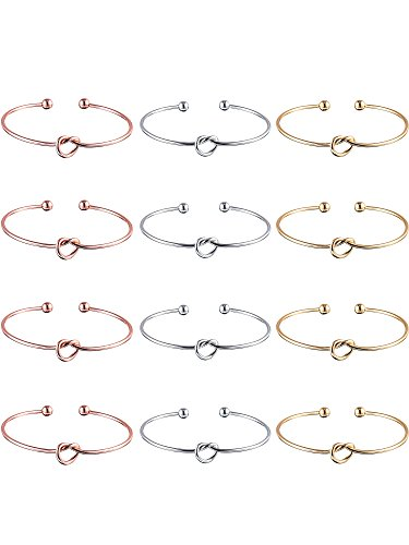 Knot Bracelet - 12 Pieces Heart Knot Bangle Bracelets Simple Cuffs Stretch Bracelet for Bridesmaid Women Girls, 3 Colors