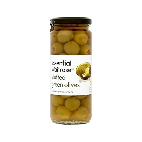 Spanish Stuffed Green Olives Waitrose 340g - Pack of 4 by Waitrose Spanish