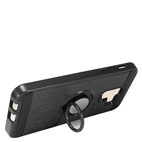 Samsung Phone Faceplates - Luckiefind Compatible with Samsung Galaxy A6 (2018 Release), Brushed Metal Hybrid Dual Layer Case with Ring Stand (Black)