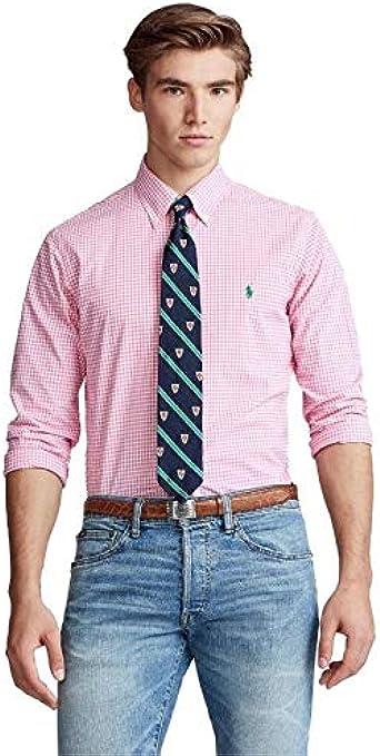 Ralph Lauren Camisa Cuadros Vichy Rosa para Hombre: Amazon.es: Ropa y accesorios