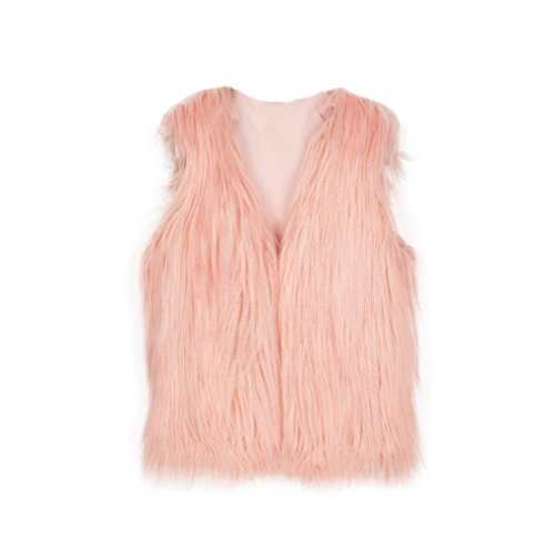 Big Sleeveless Pink Vest Jacket Fur Girl Waistcoat Synthesis Sannysis Coat Girls' OwxaqvdOX