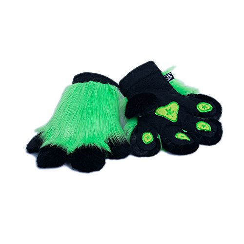 Pawstar Paw Mitts Furry Animal Hand Paws Costume Gloves Adults - Lime