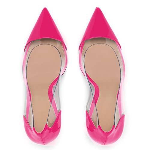 Pumps Eldof Cap Eventi Puntale Aguzza Scarpe Eldof Pvc Dress 10cm Tallone Wedding Rose Abito Stilettos Pointed Pvc Womens Trasparenti Shoes 10 High Rosa Event Centimetri Heel Womens Alto Transparent Toe Stiletti XqqFI7