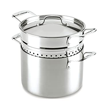 Lagostina Q55572 Axia Tri-Ply Stainless Steel Dishwasher Safe Pastaiola Set Cookware, 6-Quart, Silver