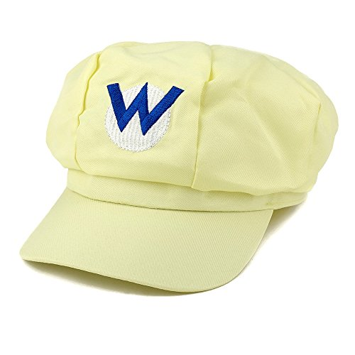 Adults Wario Costume (Mario, Luigi, Wario, Waluigi, Fire Mario Embroidered Nintendo Newsboy Hat - Yellow)