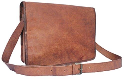 """100% in pelle pura abbronzato 15 """"spalla del computer portatile Office cross trasduttore auricolare marrone pieno sacchetto."""