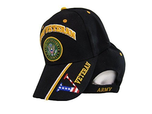 U.S. Army Veteran Vet USA Flag V Digital Black Embroidered Cap Hat