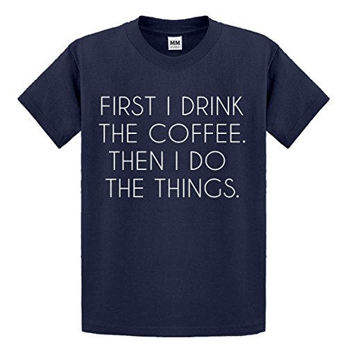 Indica Plateau Youth First I Drink The Coffee Large Navy Blue Kids T-Shirt