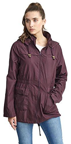 Click Selfie New Womens Plus Size Contrast Zip Waterproof Raincoats Fishtail Parka Jacket 18-24 Mulberry