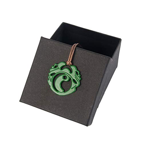 xcoser Shadow of The Tomb Raider Lara Croft Necklace Green Zinc Alloy Necklace with a Braided Rope -