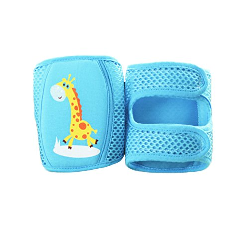 Baby knee Pads, Cute Adjustable Infant Toddler Elbow Pads Crawling Safety Protector, Mesh Breathable Absorb Sweat for Summer (Giraffe - Blue)