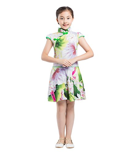 Cheongsam estilo chino vestido amarillo Qipao traje Girls fiesta Akaayuko Floral de xTf4XwOq1