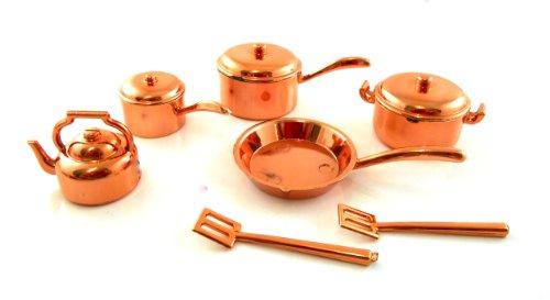 Puppenhaus Miniatur Küchenzubehör Plastik Kupfer 7-teiliges Pfannenset