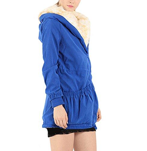 Dantiya (mujer)El abrigo de algodón con gorro espeso parka caliente capucha moda Azul