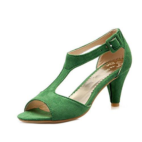 ZHZNVX Sandalias para mujer Nuevas sandalias Fishtail Sexy T-shaped High Heels Club nocturno Sandalias simples para mujer, Verde, 39