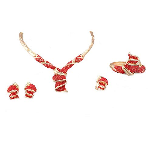 (OUHEJewelry Sets 18K Gold/Silver Plated Crystal Necklace Earrings Bracelet Ring Sets (red))