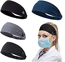 Women Headband with Buttons for Face Masks and Covers Unisex Elastic Hair Band for Nurses Doctors and Ears Protection