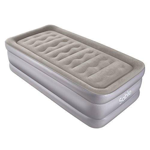 Air Mattress with Built-in Electric Pump, Sable Twin size Inflatable Airbed for Camping, Travelling, Overnight Guests, Height 20 Inches (Inflatable Twin Size Bed)