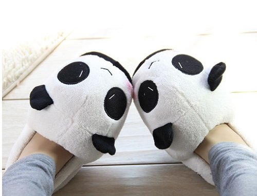 - Soft Plush Stuffed Cuddly Panda Winter Novelty Slippers Women Warm Thicken Slippers,white&black