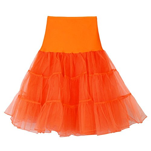 Mini Skirt Girls 3 Layered Tulle Tutu Skirt, Elastic Skirt Underskirt For gils High Waist Short Skirt (Orange, M) (Chiffon Layered Printed Skirt)