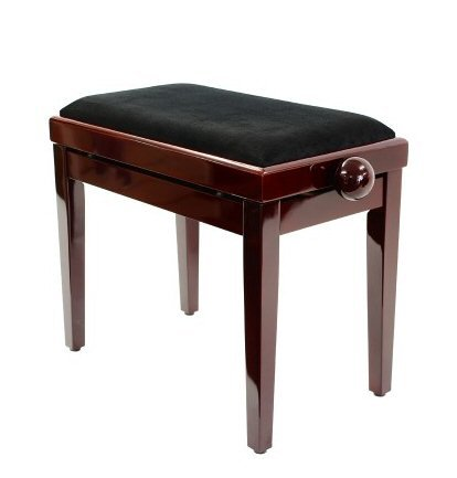 Legato Piano Bench with Cushioned Seat and Adjustable Height - Polished Mahogany by Legato @ 1to1Music