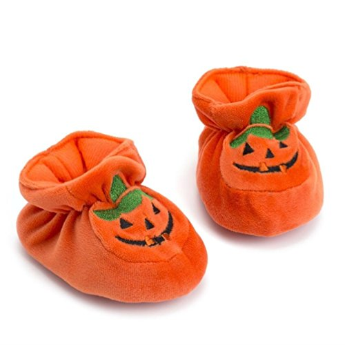 Newborn Baby Girls Boys Halloween Flock Pumpkin Soft Sole Casual Shoes (Age:0-3Months)
