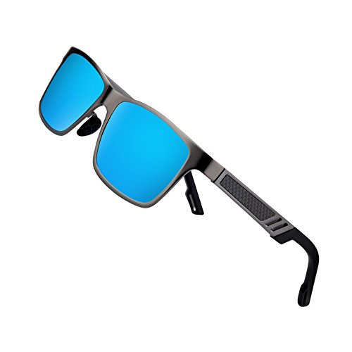 Sports Polarized Sunglasses for Men Driving Fishing Running Wayfarer Vintage Al-Mg Metal Frame Sun Glasses Blue by Kennifer