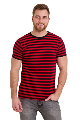 Run & Fly Mens 60's Retro Black & Red Striped Short Sleeve T Shirt -