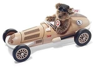 """Mohair Classic Teddy Bear with """"Silver Arrow Car"""""""