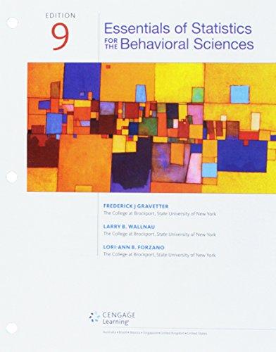 Bundle: Essentials of Statistics for The Behavioral Sciences, Loose-Leaf Version, 9th + Aplia, 1 term Printed Access Card (Essentials Of Statistics For The Behavioral Sciences)