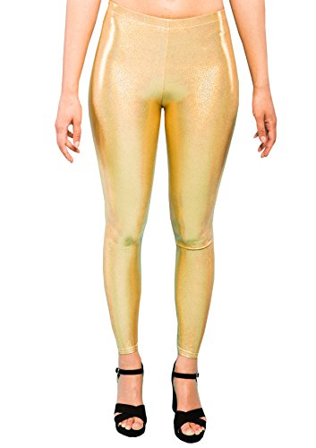 MADWAG Holographic Gold Women's Leggings Ladies Glitter Party Tights Sparkly Festival Pants EDM Clothing XS S M L XL XXL (XX-Large) (Clown Hoop Pants)