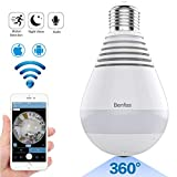 Light Bulb Camera-WiFi Night Vision VR Light Bulb Camera 360 Degree Fisheye Home Security System Led Lights IP Camera for Baby Pet Monitor Two Way Audio Remote Viewing Motion Detection 2.4GHz Camera.