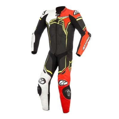 Alpinestars GP Plus V2 Motorcycle Leather Suit Black/White/Red/Florescent Size 54 by Alpinestars