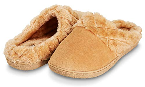 (Floopi Women's Memory Foam Slippers Deluxe Clog Scuff/Mule House Slip-Ons for Indoor & Outdoor Use| Warm & Fuzzy w/Velour Fur Lining, Quilted Collar Slipper & Anti-Skid Hard Sole (XL, Beige-304))
