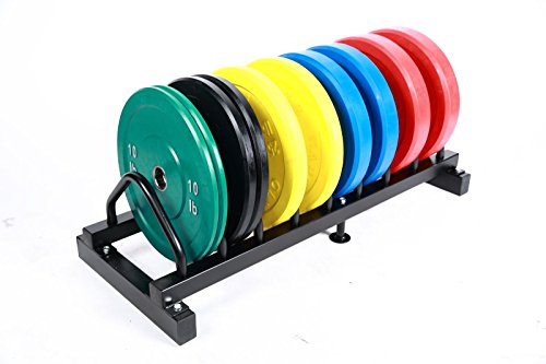 Solid Rubber Bumper Plates Set w/ Rack Color 5 Pairs, Total 260lb