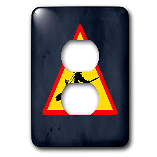 3dRose Sandy Mertens Halloween Designs - Witch Crossing with Black Cat and Broom Warning Sign, 3drsmm - Light Switch Covers - 2 plug outlet cover (lsp_290246_6) ()