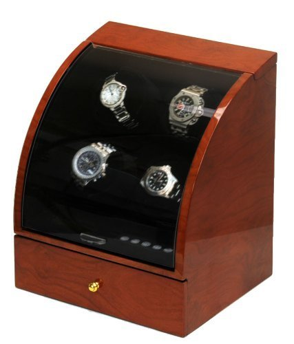 (Watch Winder Ebony Wood W/LCD Display for Automatic Watches.)