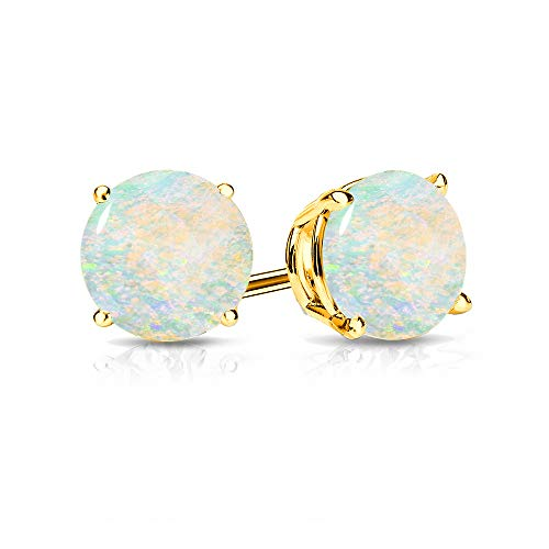 9mm Created Opal Stud Earrings in 14k Yellow Gold (2.5 CT.TW.)