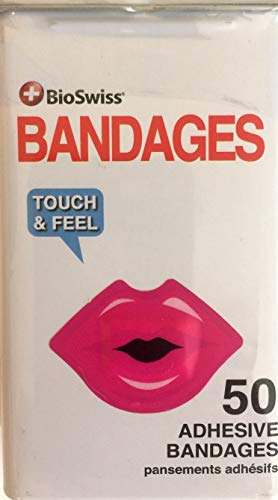 BioSwiss Novelty Bandages Self-Adhesive Funny First Aid, Novelty Gag Gift (1 Tin Box of 50) (Kiss My Boo Boo Lips)
