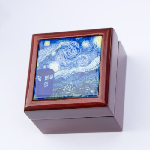 Doctor Who Ring Box, Desk Accessories, Wood Engagement Proposal Box, Dr Who Tardis Van Gogh