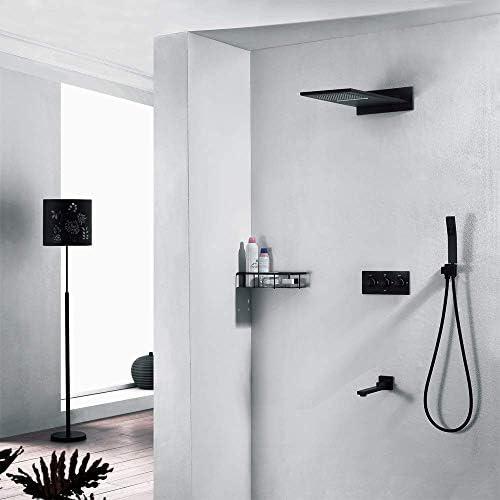 CLJ-LJ 実用的な黒の隠さシャワー銅フォー機能ホット&コールド組み込みボックスにザ・ウォールシャワートップシャワーシャワー蛇口セット美しいです
