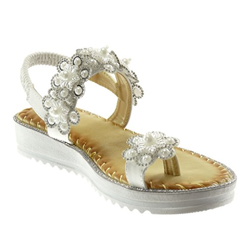 0860873a0dc61d Angkorly Damen Schuhe Sandalen Flip-Flops - Slip-On - Blumen - Perle ...